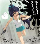 a1 black_hair blue_eyes bow fang ganaha_hibiki gears_of_war hammer_of_dawn idolmaster long_hair looking_back open_mouth ponytail running solo sweat translation_request weapon