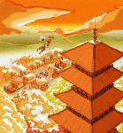 1boy autumn background bird building creature ecruteak_city evening flying gold_(pokemon) gold_(pokemon)_(remake) hat horizon jumpluff kariha natu pagoda pokemon pokemon_(creature) pokemon_(game) pokemon_gsc pokemon_hgss quilava scenery sun sunset tower town