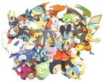 5boys ampharos backwards_hat bag baseball_cap bibarel black_hair blastoise brown_hair chandelure charizard combusken ditto empoleon flygon gardevoir gold_(pokemon) gold_(pokemon)_(remake) hat holding holding_poke_ball kouki_(pokemon) kouki_(pokemon)_(classic) lanturn looking_at_viewer lucario mewtwo multiple_boys niimura_(csnel) poke_ball pokemon pokemon_(creature) pokemon_(game) pokemon_bw pokemon_dppt pokemon_frlg pokemon_gsc pokemon_hgss pokemon_rgby pokemon_rse quagsire raichu red_(pokemon) red_(pokemon)_(remake) reuniclus roserade rotom samurott scarf scolipede shoulder_bag stunfisk togekiss touya_(pokemon) typhlosion white_background yuuki_(pokemon) yuuki_(pokemon)_(remake) yuuki_(pokemon_emerald)