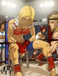 2girls abs andy_bogard ankle_wraps arena bandeau bare_shoulders barefoot bike_shorts blonde_hair blood blue_eyes blue_mary boxing_ring breasts brown_hair bruise cleavage cuts dougi fatal_fury fingerless_gloves ganassa gloves highres injury kim_kaphwan king_of_fighters midriff mixed_martial_arts mouth_guard multiple_boys multiple_girls muscle punching_bag red_hair redhead ryuuko_no_ken short_hair shorts sideboob sitting snk stool sweat tank_top toeless_socks toned towel vanessa wrist_wraps