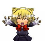 aegis blonde_hair bow chibi closed_eyes eyes_closed headphones kemonomimi_mode open_mouth outstretched_arms persona persona_3 school_uniform segami_daisuke short_hair skirt smile