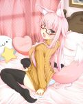 :3 animal_ears bed bed_sheet black_legwear blush curtains fox_ears fox_tail glasses grey_eyes half_rim_glasses heart heart_pillow jougen long_hair open_mouth original panties picture_(object) pillow pink_hair ribbed_sweater semi-rimless_glasses silver_eyes sitting solo star striped striped_panties sweater sweater_tug tail tears thigh-highs thighhighs turning under-rim_glasses underwear wariza