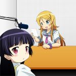 black_hair blonde_hair blue_eyes gokou_ruri hanazawa_kana kousaka_kirino long_hair looking_back microphone mizushima_(p201112) multiple_girls ore_no_imouto_ga_konna_ni_kawaii_wake_ga_nai postcard radio_booth red_eyes school_uniform seiyuu_connection serafuku table taketatsu_ayana