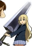 berserk blazer blonde_hair blue_eyes brown_hair dragonslayer_(sword) eyebrows hair_ornament hairclip highres hirasawa_yui huge_weapon k-on! kotobuki_tsumugi long_hair multiple_girls naav open_mouth over_shoulder pleated_skirt school_uniform short_hair simple_background skirt smile sweat sword thick_eyebrows weapon weapon_over_shoulder