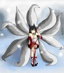 ahri animal_ears black_hair breasts brown_eyes cleavage detached_sleeves facial_mark fox_ears fox_tail hair_in_mouth heart highres league_of_legends leaning_forward long_hair multiple_tails shimo_hane smile solo tail very_long_hair