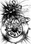 akemi_homura braid glowing glowing_eyes high_heels highres homulilly hourglass lolita_majin long_hair madoka_runes mahou_shoujo_madoka_magica monochrome personification record shoes sketch spoilers very_long_hair witch_(madoka_magica)