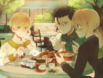2boys ahoge bad_id black_hair blonde_hair blush bracelet bread eating fate/zero fate_(series) food formal gilgamesh green_eyes gyoe jewelry lancer_(fate/zero) multiple_boys necklace pant_suit ponytail red_eyes saber salad soup spaghetti suit wine yellow_eyes