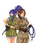 back-to-back blue_eyes blue_hair bolero breasts brown_eyes brown_hair choker combat_knife cropped_jacket gloves hands_on_hips highres khakis king_of_fighters large_breasts leona_heidern lips long_hair looking_back military military_uniform multiple_girls ponytail short_hair shorts sleeves_rolled_up snk ultimatesol uniform whip whip_(kof)