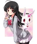 ahoge black_hair blush bow bowtie cardigan chisato_(missing_park) finger_to_face flower hair_flower hair_ornament hime_cut jewelpet_(series) jewelpet_sunshine leaning_forward light_smile long_hair mizushiro_kanon pantyhose pleated_skirt purple_eyes red_eyes ruby_(jewelpet) school_uniform serafuku skirt violet_eyes