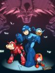 albert_w_wily android arm_cannon bird blue_eyes capcom character_request dog eddie_(rockman) espeng gloves helmet robot rockman rockman_(character) rockman_(classic) rush_(rockman) weapon