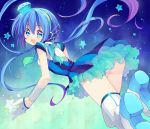 aoki_lapis blue_eyes blue_hair diamond gloves hair_ornament headset hyerry long_hair looking_at_viewer looking_back open_mouth panties scarf skirt smile solo striped striped_panties thigh-highs thighhighs tourmaline touyama_soboro twintails underwear very_long_hair vocaloid white_legwear