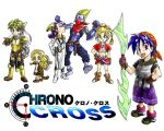 bandana bandanna blonde_hair blue_eyes blue_hair braid chrono_cross chrono_trigger cyborg glenn green_hair grobyc kid_(chrono_cross) leah luccia_(chrono_cross) parody ponytail purple_hair serge simple_background style_parody swallow_sword title_drop white_background