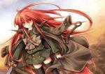 coat_on_shoulders long_hair piku red_eyes red_hair redhead school_uniform serafuku shakugan_no_shana shana sword thigh-highs thighhighs trench_coat weapon