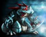 claws fangs feraligatr no_humans open_mouth pokemon pokemon_(game) pokemon_gsc realistic solo spikes tominaga yellow_eyes