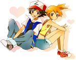 1girl bad_id black_hair brown_eyes child denim green_eyes hat heart jacket kasumi_(pokemon) mochi730 no_socks orange_hair pokemon pokemon_(anime) satoshi_(pokemon) satoshi_(pokemon)_(classic) shoes short_hair shorts side_ponytail simple_background sneakers suspenders v
