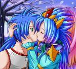 /bof 1boy 1girl alternate_costume bare_shoulders blue_hair bracelet breath_of_fire breath_of_fire_ii closed_eyes eyes_closed gradient_hair green_eyes jewelry kiss lin256 long_hair multicolored_hair nina_(breath_of_fire_ii) pauldron pauldrons ponytail ryu_(breath_of_fire_ii) ryuu_(breath_of_fire_ii) shoulder_pauldrons snow tiara tree wings