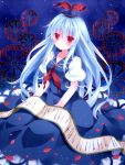 1girl blue_hair hat highres kamishirasawa_keine long_hair mog_(artist) petals red_eyes scroll seiza sitting solo touhou very_long_hair