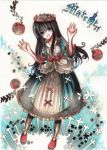 :d apple black_hair blue_eyes colored_pencil_(medium) crown dress food fruit long_hair marchen open_mouth pastel_(medium) satsuan0120 schneewittchen smile solo sound_horizon title_drop traditional_media