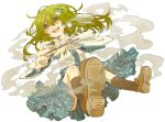 bad_id bad_perspective detached_sleeves frog_hair_ornament green_hair hair_ornament hair_tubes henki_(orange) kochiya_sanae long_hair nail_polish open_mouth orange0770 skirt smile snake solo touhou yellow_eyes