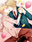 bad_id blazer blonde_hair blue_eyes blush closed_eyes eyes_closed glasses hand_holding holding_hands incipient_kiss incoming_kiss interlocked_fingers kurusu_shou multiple_boys necktie school_uniform shinomiya_natsuki short_hair uta_no_prince-sama yaoi