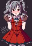 1girl bat blush brooch dress fingerless_gloves gloves grey_hair idolmaster idolmaster_cinderella_girls jewelry kanzaki_ranko long_hair miki_sayaka nail_polish necklace open_mouth red_dress red_eyes shouji_2 smile solo twintails