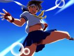 brown_eyes brown_hair buruma capcom fingerless_gloves gloves headband kasugano_sakura kicking komakedara lens_flare midair midriff navel open_mouth school_uniform serafuku shirt_lift shoes short_hair skirt sneakers solo street_fighter street_fighter_zero wind_lift