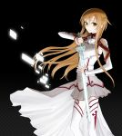 asuna_(sao) bare_shoulders bo_co breastplate brown_eyes brown_hair detached_sleeves long_hair looking_at_viewer skirt smile solo sword sword_art_online thigh-highs thighhighs weapon yuuki_asuna