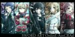 black_eyes black_hair blonde_hair blue_eyes blue_hair bow breastplate brown_eyes brown_hair column_lineup dual_wielding fingerless_gloves gloves hair_bobbles hair_ornament highres kirito kirito_(tundereyuina) lisbeth long_hair mole open_mouth pina_(sao) sachi_(sao) short_hair short_twintails silica smile sword sword_art_online tundereyuina twintails weapon yuuki_asuna