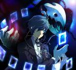 arisato_minato blue_eyes blue_hair bow card chain chains headphones male persona persona_3 ribbon school_uniform short_hair solo thanatos