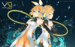 2d back_to_back blonde_hair blue_eyes dress dutch_angle elbow_gloves headphones kagamine_len kagamine_rin looking_back vocaloid wallpaper wire