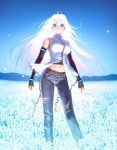 aozaki_aoko belt blue_eyes blurry depth_of_field elbow_gloves game_cg gloves glowing glowing_hair highres jeans koyama_hirokazu long_hair mahou_tsukai_no_yoru midriff navel solo spoilers torn_clothes torn_jeans white_hair