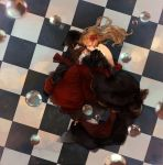 alternate_hairstyle beatrice blonde_hair book checkered checkered_floor closed_eyes dress eyes_closed fetal_position flower formal hair_down hair_flower hair_ornament highres long_hair lying on_side red_rose rose solo umineko_no_naku_koro_ni wakatsuki_(etoiles)