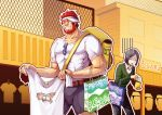 52ikaros backpack bad_id bag beard black_hair facial_hair fate/zero fate_(series) male mars_symbol multiple_boys randoseru red_eyes red_hair redhead rider_(fate/zero) shopping_bag sunglasses t-shirt t_t tears visor_cap waver_velvet