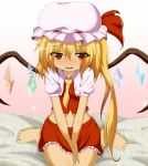 bare_legs barefoot between_breasts blonde_hair blush breasts clothes_between_breasts dr._cryptoso fangs flandre_scarlet hat hat_ribbon highres midriff navel open_mouth red_eyes ribbon shirt side_ponytail sitting skirt skirt_set slit_pupils smile solo touhou v_arms wariza wings