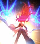 aozaki_aoko ass blue_eyes elbow_gloves floating_hair from_behind game_cg gloves glowing glowing_hair hair highres jeans koyama_hirokazu long_hair magic mahou_tsukai_no_yoru perspective red_hair redhead solo spoilers