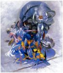 2girls bengus capcom colossus_(x-men) cyclops cyclops_(x-men) dark_skin highres iceman iceman_(x-men) marvel psylocke sentinel_(x-men) size_difference storm_(x-men) white_hair wolverine x-men yasuda_akira