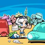 car chibi contemporary hitchhiking hounori izayoi_sakuya midriff motor_vehicle shorts solo sunglasses sunglasses_on_head touhou vehicle