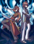 blue_background brown_hair coat dual_wielding hair_over_one_eye higano_shou kratos_aurion lloyd_irving male multiple_boys pants red_hair redhead shoes sword tales_of_(series) tales_of_symphonia weapon