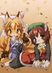 animal_ears barefoot blonde_hair blush brown_hair cat_ears cat_tail chen feet fox_ears furry hat looking_at_viewer multiple_girls multiple_tails muturabosi open_mouth pawpads paws tail toes touhou yakumo_ran yellow_eyes
