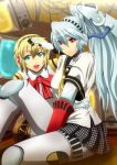 aegis android aqua_hair blonde_hair blue_eyes bow highres houndstooth labrys long_hair multiple_girls muutsu_(maxwell0916) open_mouth persona persona_3 persona_4:_the_ultimate_in_mayonaka_arena ponytail red_eyes robot_joints school_uniform short_hair sitting skirt smile television