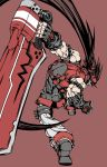 1boy attack brown_hair fingerless_gloves flat_color forehead_protector from_behind gloves grin guilty_gear_xrd headband highres long_hair multiple_belts muscle ponytail red_eyes reverse_grip smile sol_badguy spiky_hair super_banda803 sword very_long_hair vest weapon