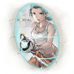 aperture_science_handheld_portal_device bare_shoulders black_eyes black_hair breasts chell cleavage jumpsuit kuruuya long_hair ponytail portal portal_2 smile solo tank_top