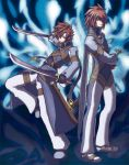 blue_background brown_hair coat cosplay dual_wielding hair_over_one_eye higano_shou kratos_aurion kratos_aurion_(cosplay) lloyd_irving male multiple_boys pants red_hair redhead shoes sword tales_of_(series) tales_of_symphonia weapon