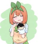 1girl :d ^_^ bangs blush bow closed_eyes collared_shirt eyebrows_behind_hair facing_viewer go-toubun_no_hanayome green_background green_bow green_ribbon green_skirt hair_ribbon hand_puppet hands_up highres kujou_karasuma nakano_yotsuba open_mouth orange_hair pleated_skirt pointing puppet ribbon shirt short_sleeves skirt smile solo sweater_vest two-tone_background uesugi_fuutarou upper_body white_background white_shirt