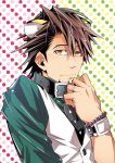 animal_ears bracelet brown_eyes brown_hair collar facial_hair ichitaka jewelry kaburagi_t_kotetsu kemonomimi_mode male necktie ring short_hair stubble tiger_&_bunny tiger_ears vest waistcoat watch wedding_band wristwatch