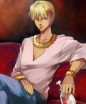 bad_id blonde_hair bracelet cross cup fate/zero fate_(series) gilgamesh jewelry male mouth_hold necklace red_eyes seojung wine_glass