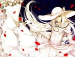 bandage_over_one_eye character_request choma crossdressing dies_irae dress frills gloves green_eyes hair_over_one_eye hat lolita_fashion long_hair pale_skin petals ribbon rose_petals simple_background smile solo source_request very_long_hair white_dress white_hair wolfgang_schreiber