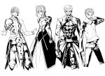 3boys ahoge archer armor dark_skin dress earrings emiya_shirou fate/hollow_ataraxia fate/stay_night fate_(series) gilgamesh greyscale jewelry monochrome multiple_boys raglan_sleeves saber shaliva shirtless short_hair tattoo white_background