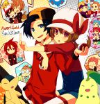 2girls 6+boys ? apollo_(pokemon) athena_(pokemon) backwards_hat baseball_cap black_hair blonde_hair blue_eyes blue_hair bowtie brown_hair cabbie_hat cape chikorita closed_eyes cloud clouds cyndaquil dragonite eevee expressionless facial_hair flag glasses gold_(pokemon) gold_(pokemon)_(remake) green_eyes green_hair hat headband heart ho-oh holding holding_poke_ball hug hug_from_behind jacket kotone_(pokemon) lambda_(pokemon) lance_(pokemon) long_hair low_twintails marill minaki_(pokemon) multiple_boys multiple_girls ookido_green ookido_green_(hgss) open_mouth overalls pikachu pink_eyes pink_hair pointing poke_ball pokemon pokemon_(creature) pokemon_(game) pokemon_frlg pokemon_hgss pout purple_eyes purple_hair red_(pokemon) red_(pokemon)_(remake) red_eyes red_hair redhead scarf shiuka short_hair silver_(pokemon) silver_(pokemon)_(remake) smile snow spoken_pokemon suicune team_rocket thigh-highs thighhighs totem_pole totodile utsugi_(pokemon) violet_eyes wataru_(pokemon) zettai_ryouiki