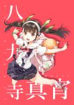 backpack bag black_hair bracelet character_name hachikuji_mayoi hair_ribbon hairband jewelry monogatari_(series) open_mouth outstretched_arms panties pantyshot randoseru red_eyes ribbon solo spread_arms twintails underwear yuugen